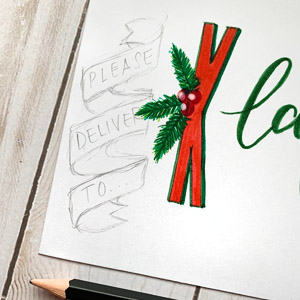 DIY Christmas holiday theme envelope art hand lettering gnomes and Santa www.kellycreates.ca