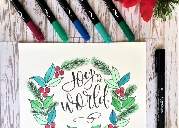 Beautiful tutorial for watercolor wreath and hand lettering www.kellycreates.ca