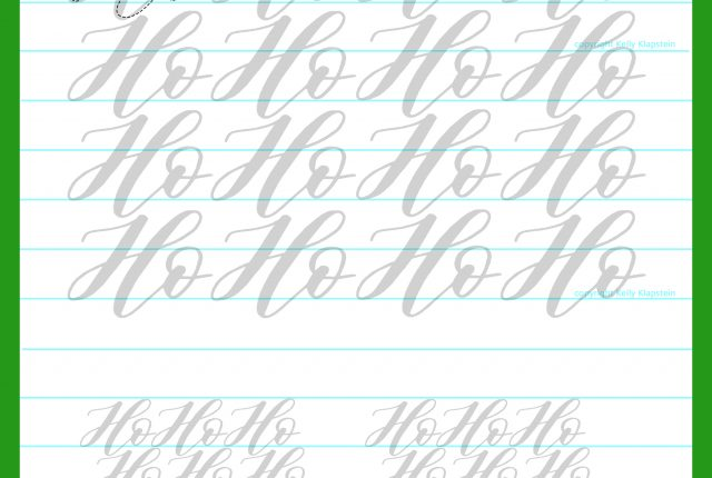 Free traceable template holiday words guide worksheet ho ho ho Christmas for brush pen lettering to download and print and practice