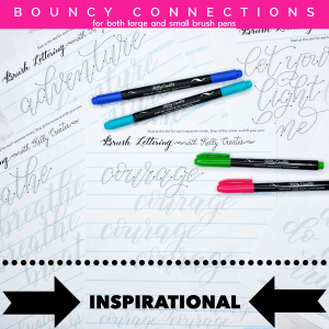 Bouncy modern calligraphy tracing templates guides inspirational words connections www.kellycreates.ca/shop