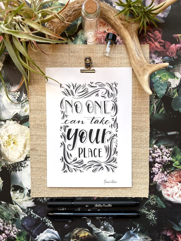 how to style your art and hand lettering in photos www.kellycreates.ca