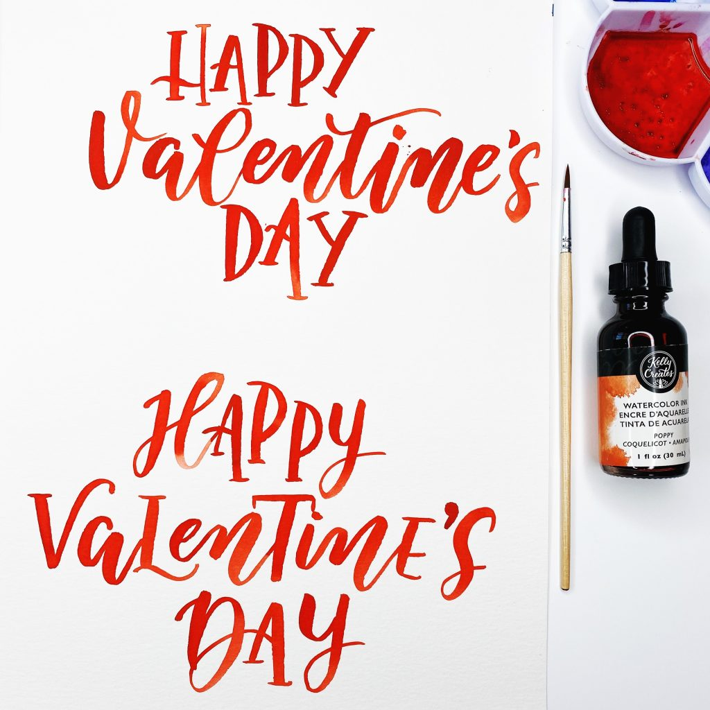 Valentine's Day watercolor lettering Kelly Creates