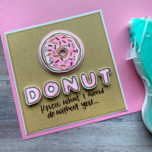 Make this SUPER cute donut card with sweet donut lettering! Full tutorial at www.kellycreates.ca