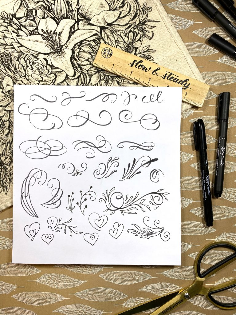 Calligraphy and lettering flourishing tutorial with FREE printable worksheets to practice flourishes www.kellycreates.ca