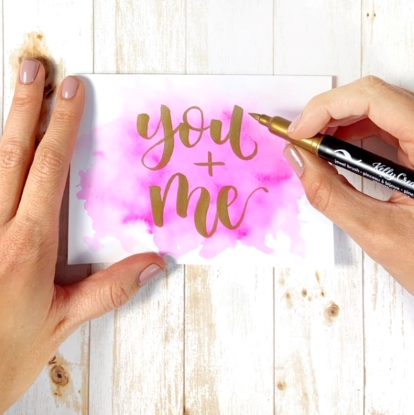 Cute Valentine cards with free printable lettering template www.kellycreates.ca