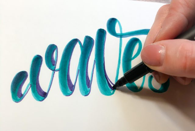 Cool Hand Lettering in a shape tutorial www.KellyCreates.ca