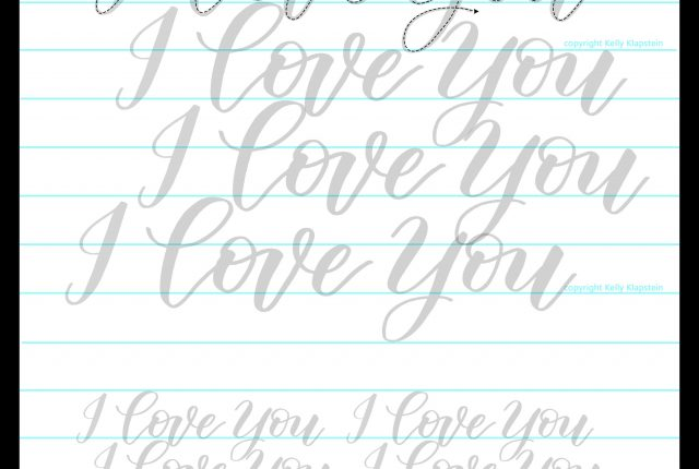 free worksheet to download and print I love you tracing template for brush lettering and modern calligraphy www.kellycreates.ca