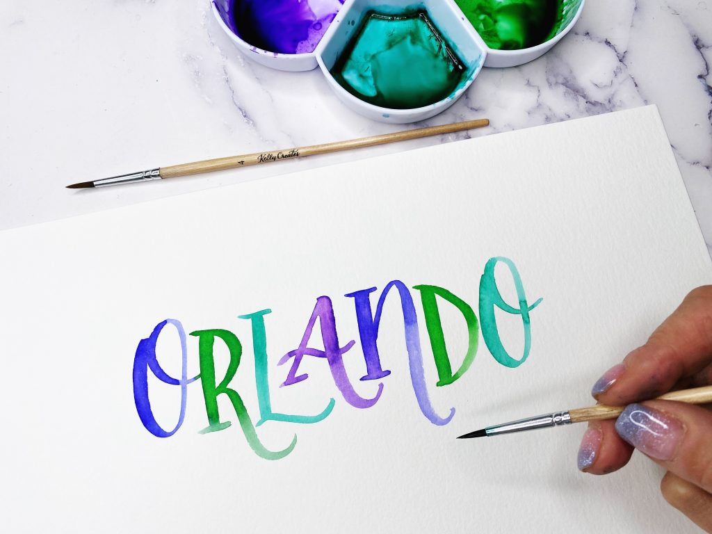lettering workshops by Kelly Klapstein in Orlando and the USA, calligraphy and watercolor and brush pen