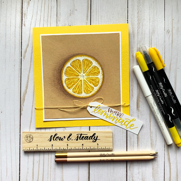 Draw and colour a lemon to make a cute card using markers and brush pens and coloring pencils www.kellycreates.ca