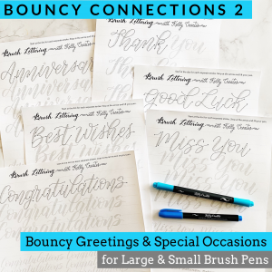 learn bouncy modern calligraphy hand lettering with these tracing guides, templates, worksheets printable, download, practice, www.kellycreates.ca