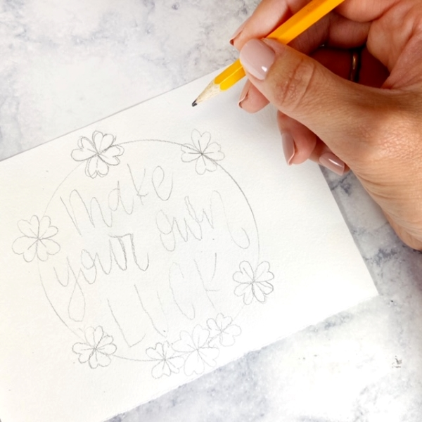 wreath tutorial with hand lettering tracing free printable worksheet www.kellycreates.ca