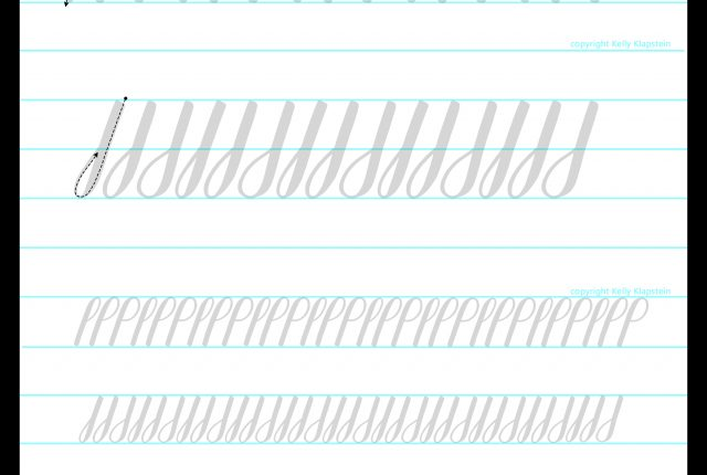 free calligraphy lettering worksheet tracing template guide for basic strokes loops ascenders and descenders www.KellyCreates.ca