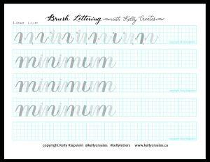 Free online Beginner Brush Lettering workshop April 2020 with @kellycreates Instagram LIVE minimum practice worksheet printable