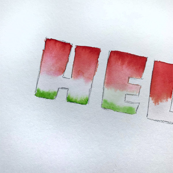 super cute watermelon hand lettering with watercolor www.Kellycreates.ca