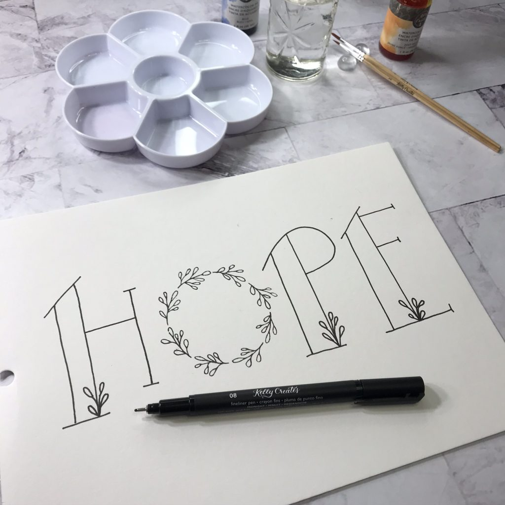 Hope watercolor lettering with Stamping www.KellyCreates.ca