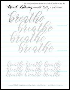 free worksheet bouncy breathe lettering modern calligraphy www.kellycreates.ca
