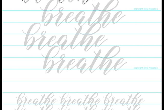 free worksheet bouncy breathe lettering modern calligraphy www.kellycreates.ca