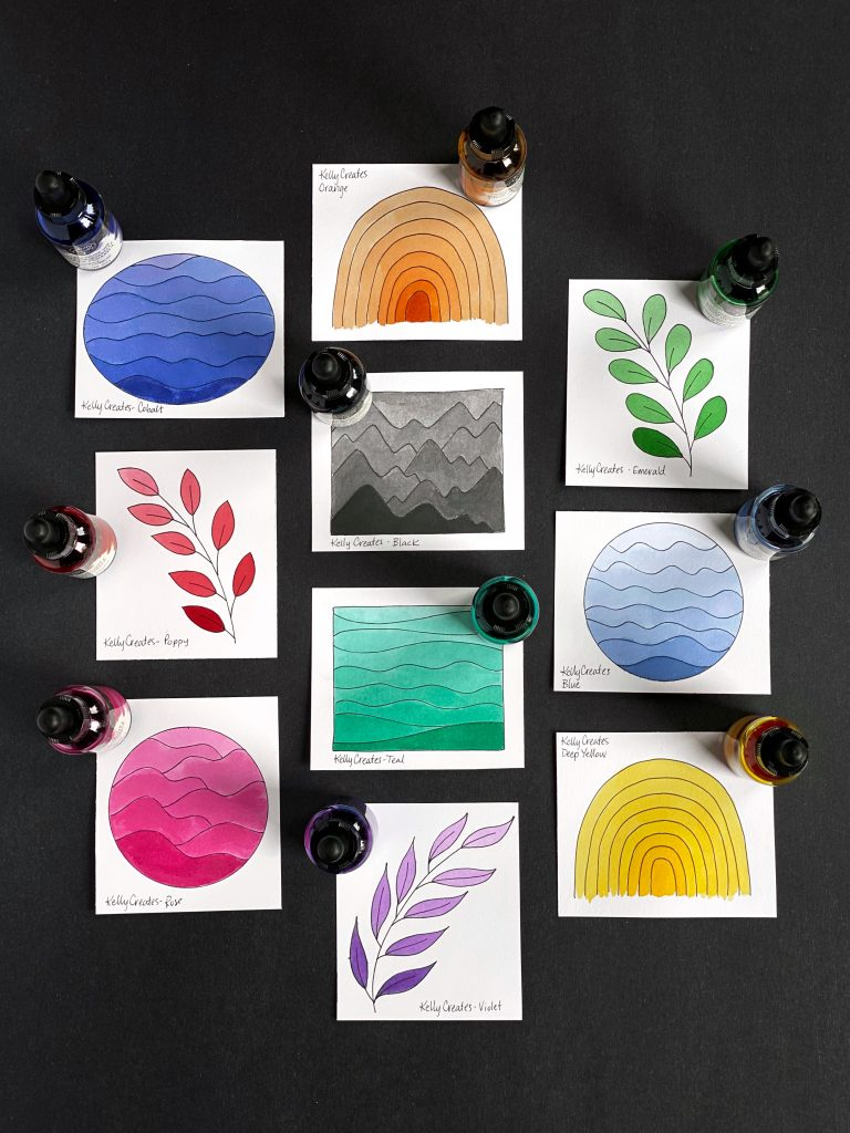 Learn how to make fun and creative watercolor swatches www.kellycreates.ca