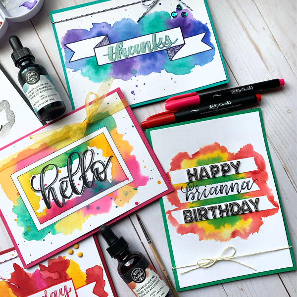 Watercolor card with cool Washi tape masking technique www.kellycreates.ca