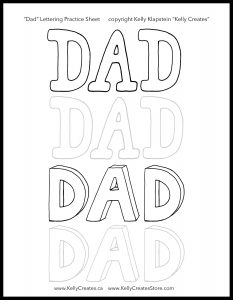 printable dad lettering card for Father's Day to colour or paint www.kellycreates.ca