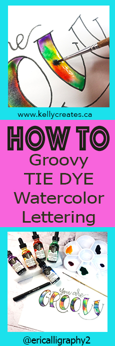 Groovy lettering tutorial with rainbow watercolor technique www.kellycreates.ca