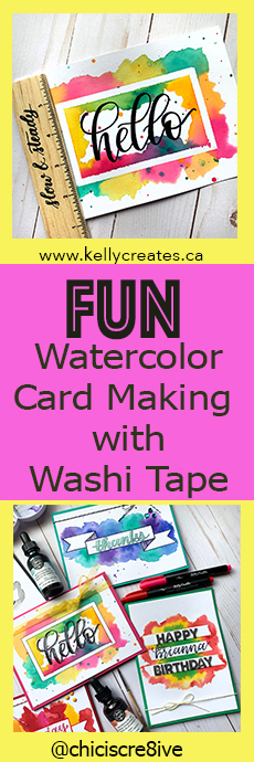 watercolor Washi tape cards with Kelly Creates Inks tutorial www.KellyCreates.ca