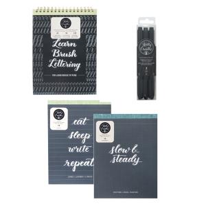 Lettering supplies for brush pen calligraphy www.kellycreates.ca How to Learn Brush Lettering Beginner Starter Kit