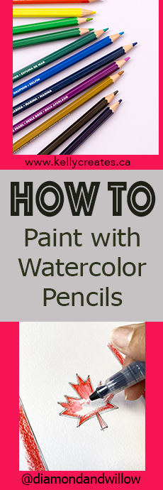 Using watercolor pencils and a water brush www.kellycreates.ca