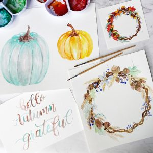 Fall botanicals, pumpkins, wreath, workshop, lettering, painting, watercolour www.kellycreates.ca