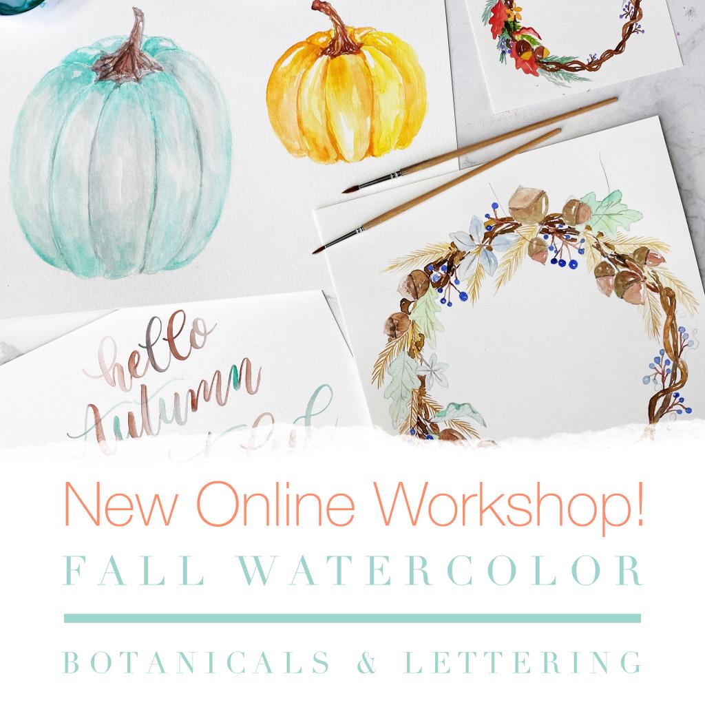 Fall botanicals, pumpkins, wreath, workshop, lettering, painting, watercolour