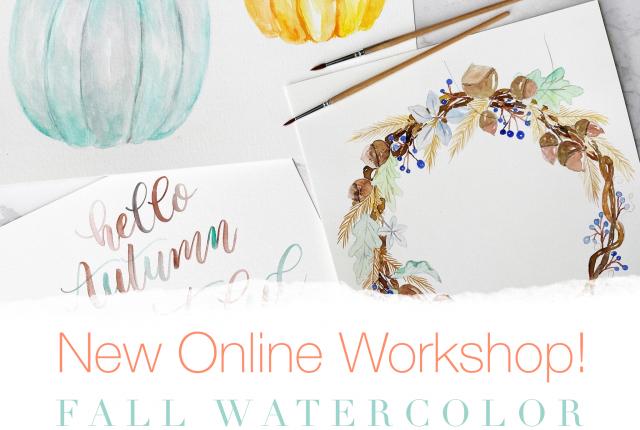 Fall botanicals, pumpkins, wreath, workshop, lettering, painting, watercolour www.kellycreates.ca