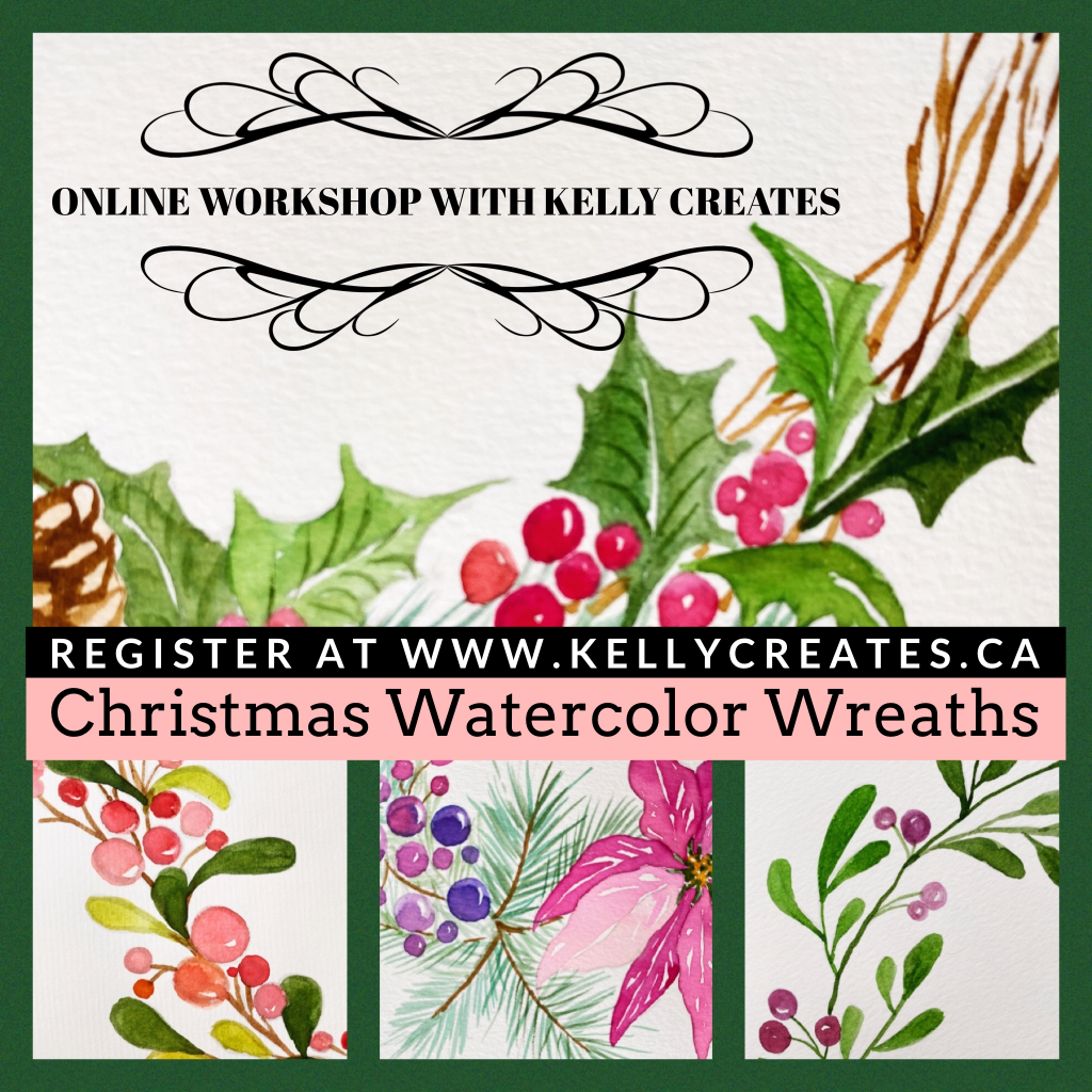 online watercolor Christmas holiday wreath workshop kellycreates.ca