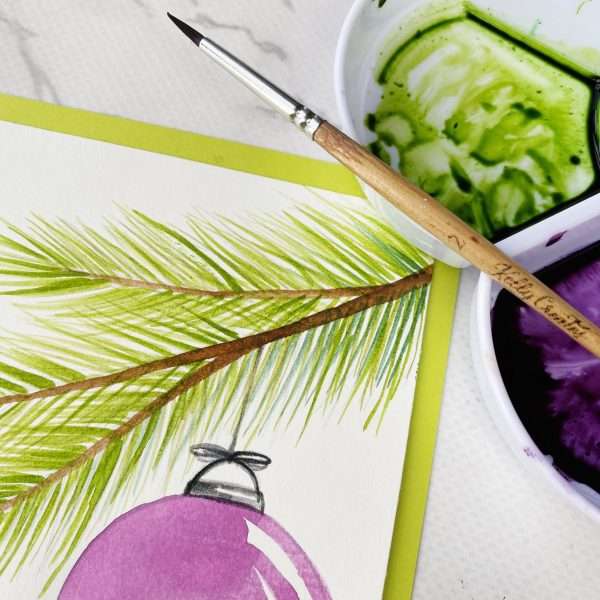 Online workshop for beginners watercolor Christmas cards including 33 printable templates www.kellycreates.ca