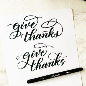 free thanksgiving lettering calligraphy worksheet printable download pdf www.kellycreates.ca