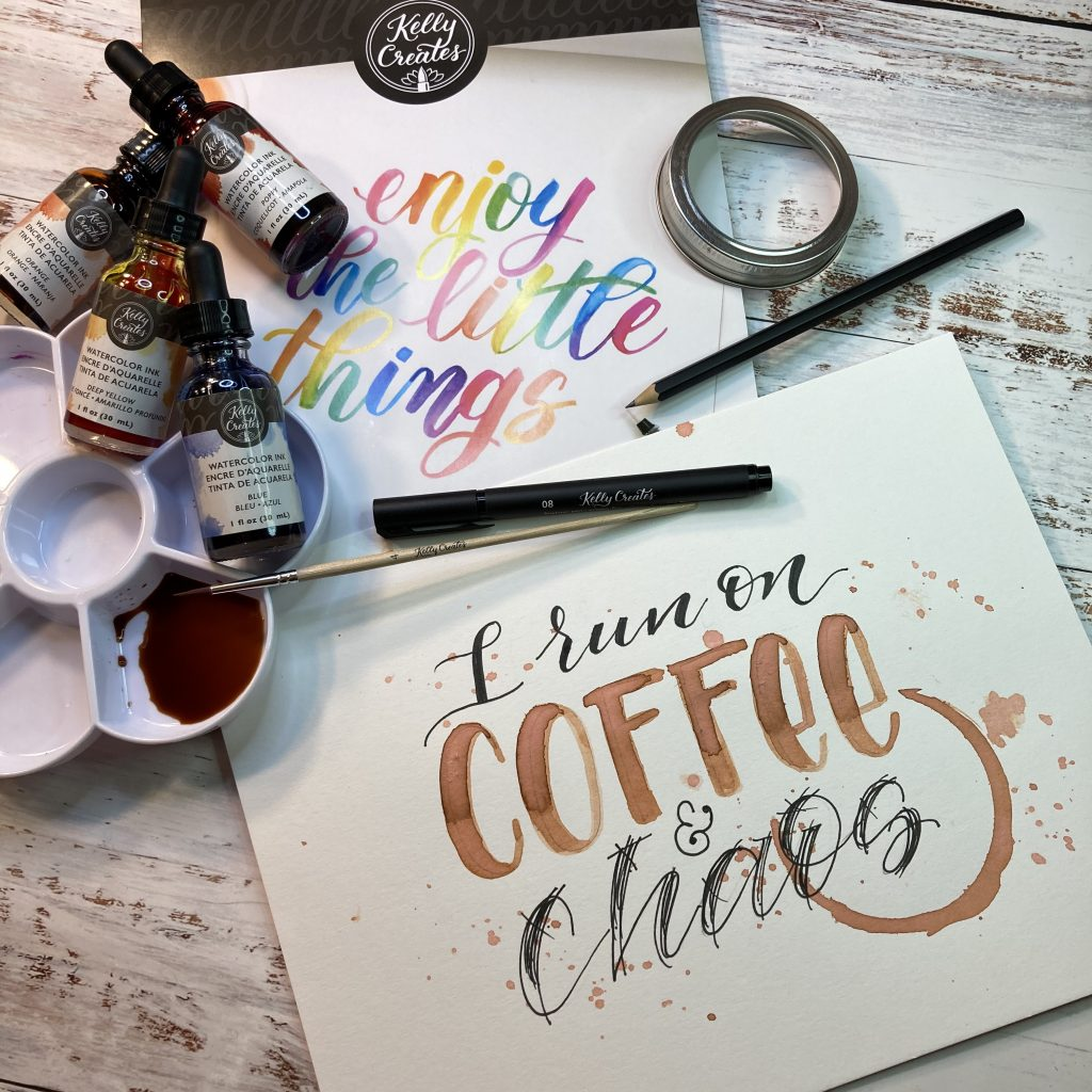 free hand lettering coffee home decor design with printable template www.kellycreates.ca