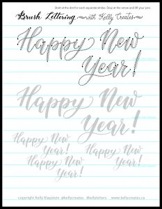 Free printable worksheet to download to practice calligraphy, tracing guide sheet, bouncy style Happy New Year KellyCreates.ca