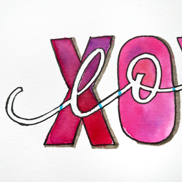 lettering with watercolor and a masking fluid pen www.kellycreates.ca