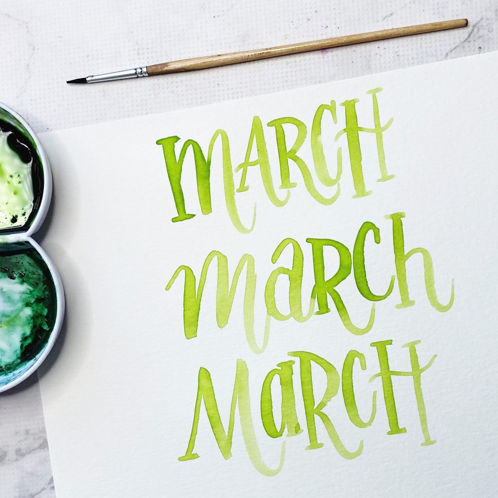 free printable lettering template worksheets for watercolour March practice