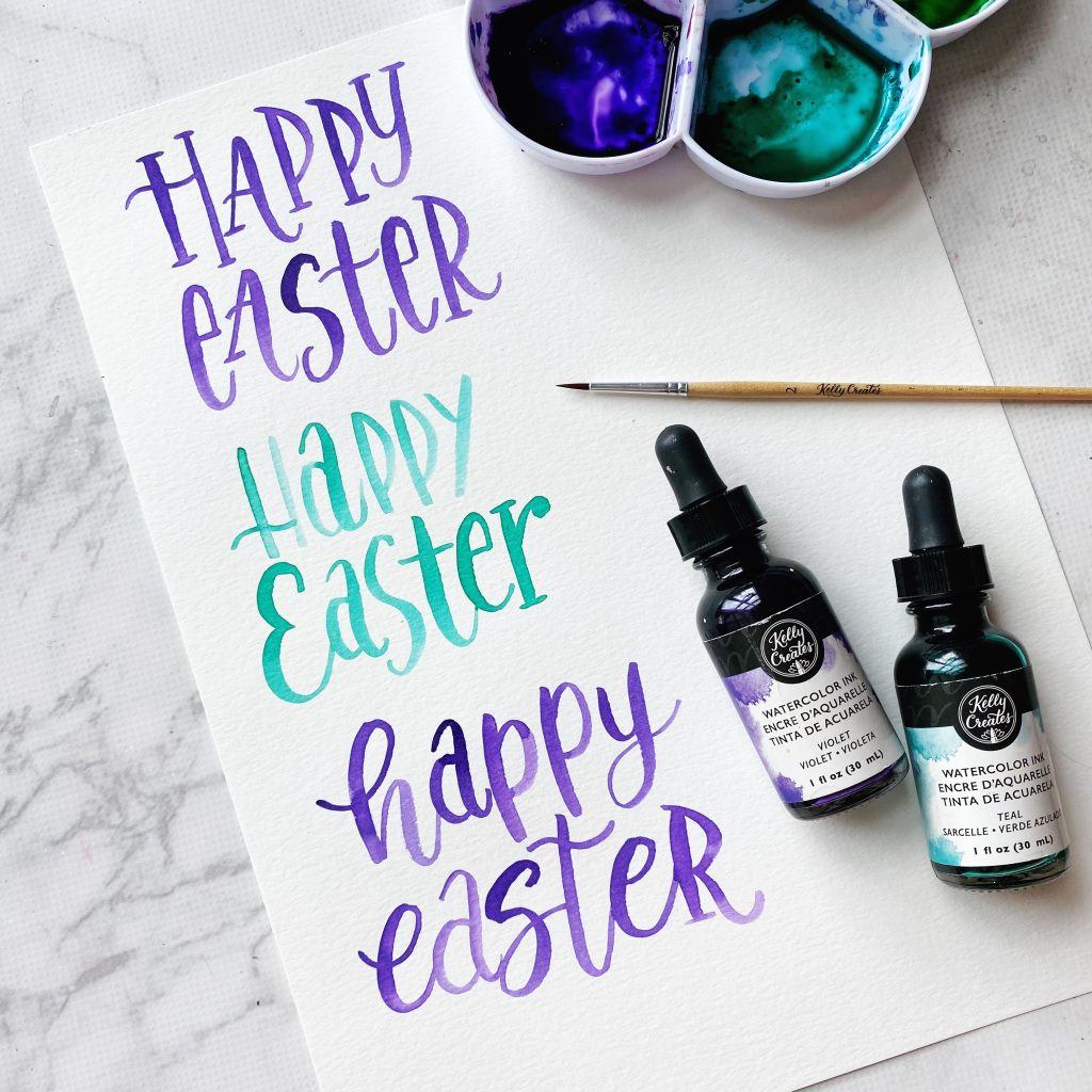 happy easter lettering free printable worksheet for watercolour practice template kellycreates.ca