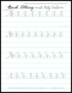 Free printable worksheet template to practice lowercase r calligraphy brush lettering www.kellycreates.ca