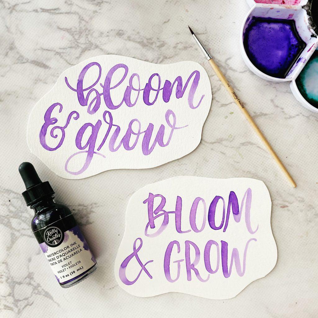 free printable watercolor lettering worksheet bloom and grow kellycreates.ca