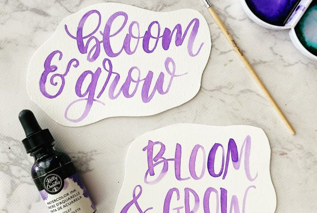 free printable watercolor lettering worksheet bloom and grow kellycreates.ca