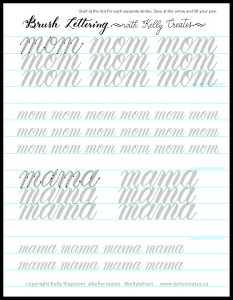 free printable download worksheet for brush lettering mom mama kellycreates.ca