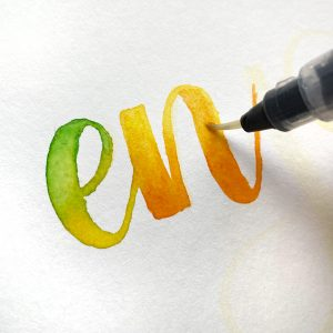 rainbow lettering with watercolour www.kellycreates.ca