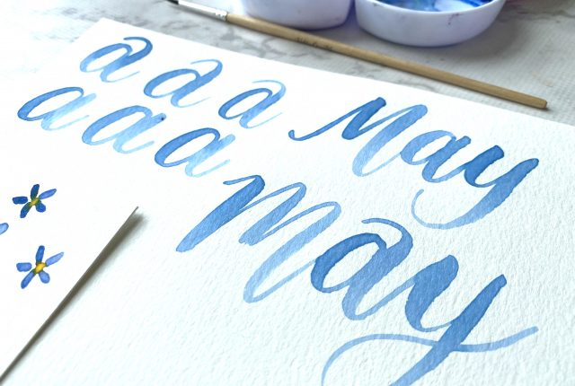 learn watercolor lettering with free printable templates from Kellycreates.ca