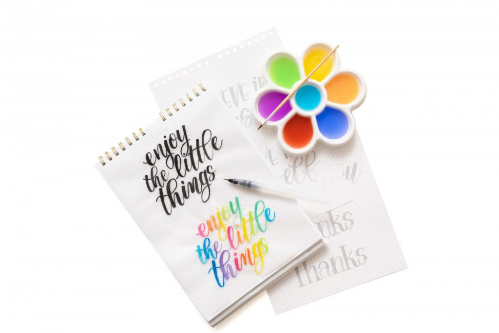 learn watercolor lettering workbook and art supplies