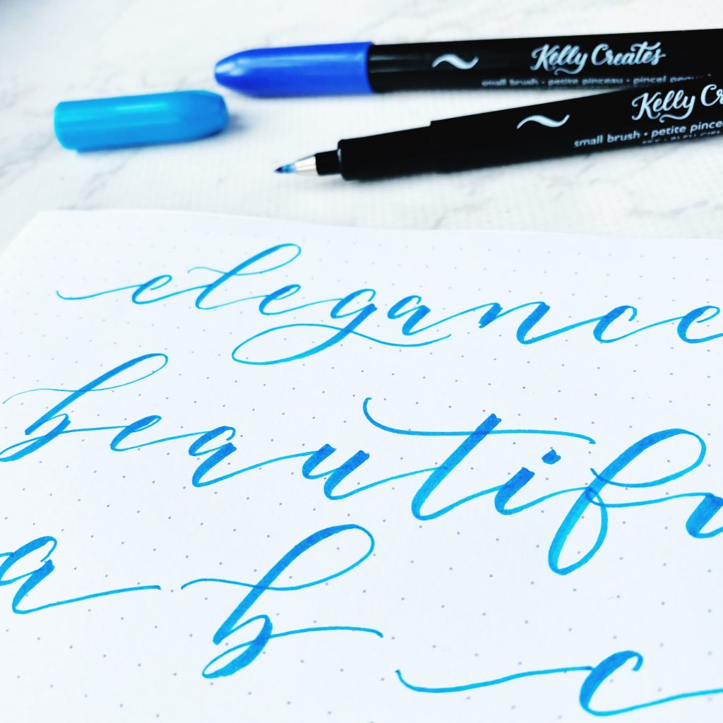 how to write beautiful, fancy, elegant modern calligraphy brush lettering with a brush pen www.kellycreates.ca