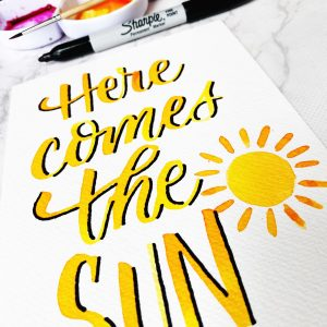 Here comes the sun free printable lettering template download at kellycreates.ca
