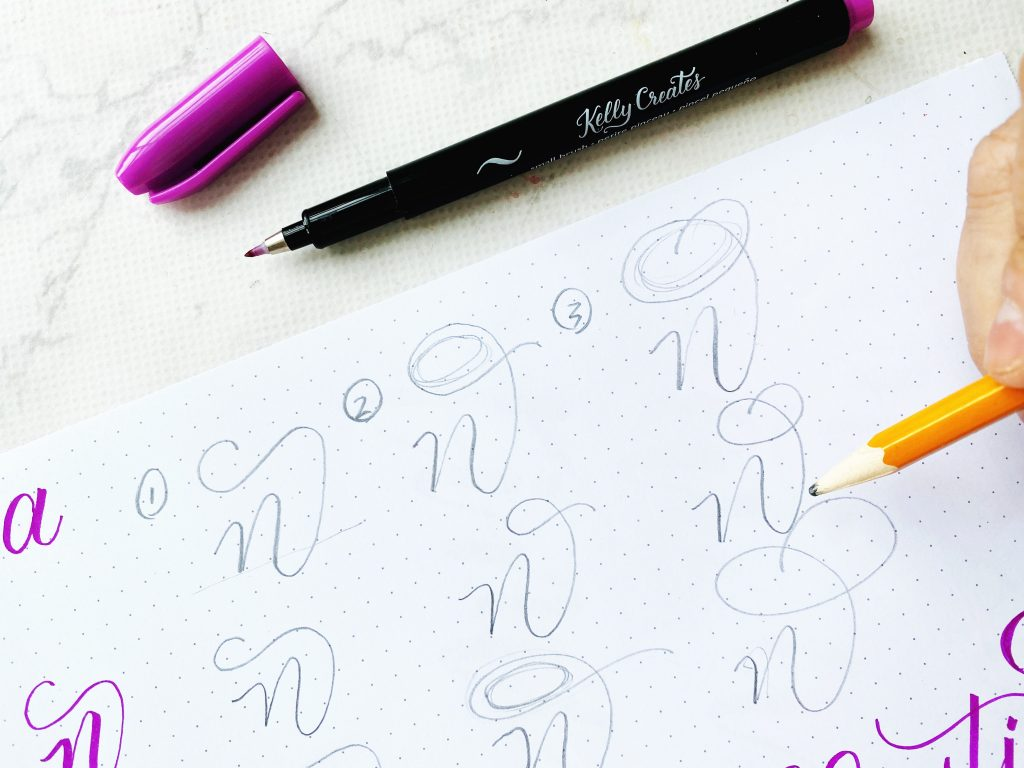 3 ways to flourish a name in modern calligraphy www.kellycreates.ca