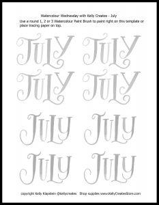 Free lettering printable worksheet template July www.kellycreates.ca